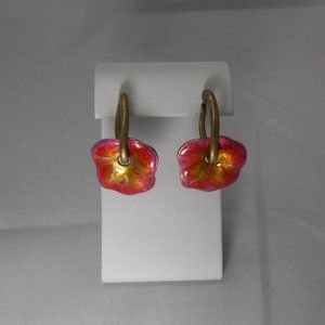 Chico's Brass Tone Pink and Yellow Earrings